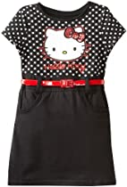 Hello Kitty Girls 2-6X Belted Dress, Anthracite, 2T
