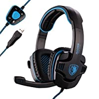Sades Stereo 7.1 Surround Pro USB Gaming Headset Headband Headphone with Mic