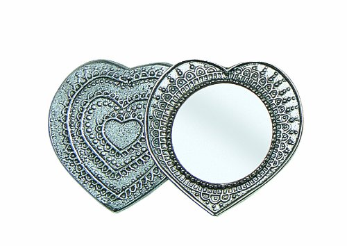 Crosby & Taylor Heart Pewter Purse Mirror, Large
