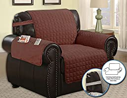 Quilted Microfiber Pet Dog Couch Furniture Protector With Side Pocket, Tucks & Strap (Chair, Brown)