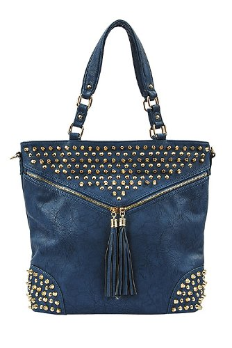TRENDY FASHION STUD FRINGE SHOULDER BAG BY FASHION DESTINATION