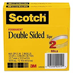 Scotch 665 Double-Sided Office Tape, 1/2 Inch x 900 Inches, 1-Inch Core, Clear - 4 Rolls