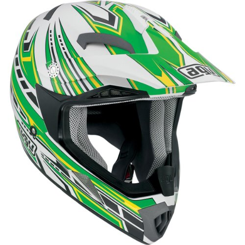 AGV MT-X Point Helmet , Gender: Mens/Unisex, Helmet Category: Offroad, Helmet Type: Offroad Helmets, Primary Color: Green, Size: XL, Distinct Name: White/Green 902152A0016010