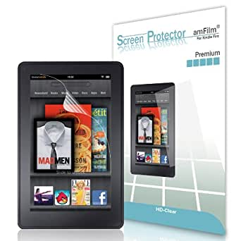 amFilm® Kindle Fire (Previous Generation) HD Clear (Invisible) Premium Screen Protectors (2-Pack) [Lifetime Warranty]