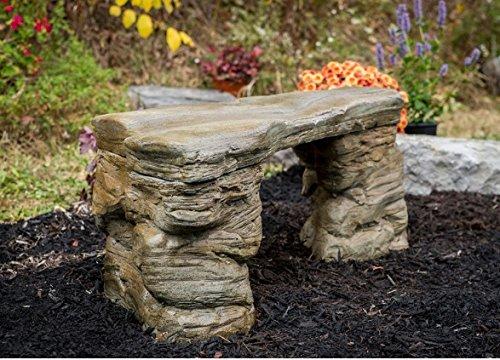 """Cast Stone Petrified Rock Bench, """"Outdoor Garden patio Bench"""" 3 Piece Hand Sculpted Rustic Garden Bench Outdoor Decor"""