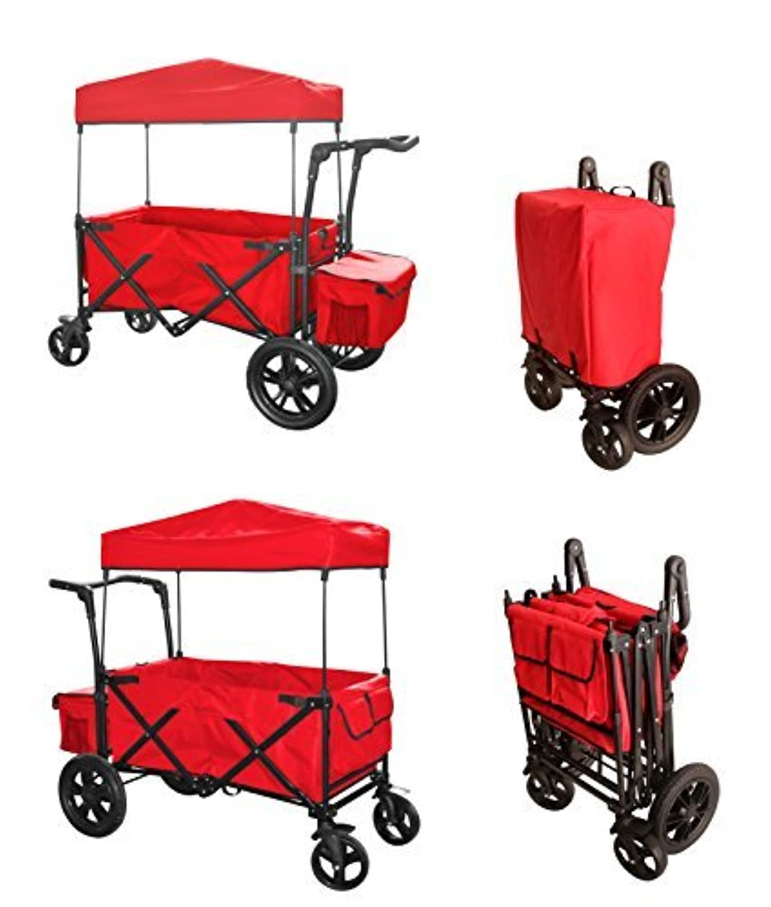 Red Push Handle And Rear Foot Brake Folding Stroller Wagon