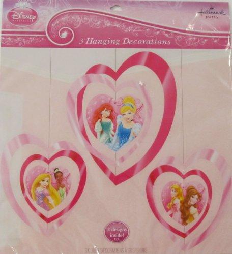 Disney Princess 3 Hanging Heart Party Decorations