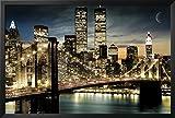 FRAMED Manhattan Lights New York City Skyline 36x24 Art Poster Print Brooklyn Bridge World Trade Center Twin Towers