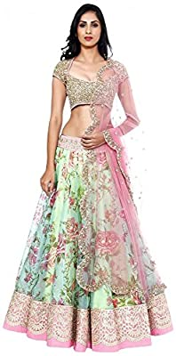 The Fashions Hub Women's Net Unstitched Lehenga Choli (Multi-Coloured)