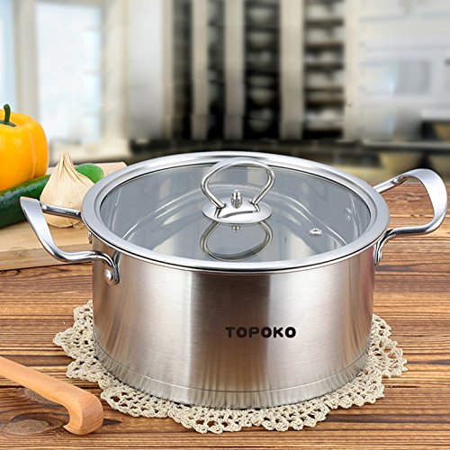 Big Sale-Topoko High Quality Stainless Steel 4-quart Saucepot - Perfect Family Soup Pot with Tempered Glass Lid Cooking Pot Cookware (Stock Pot For Induction Cooktop compare prices)
