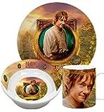 Hobbit 33347 - 3-teilig Set aus Keramik: 2 Teller und 1 Tasse, Geschenkpackung