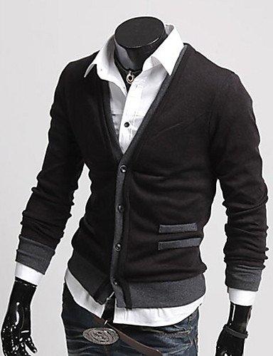 XXGX-T-Shirts-Acrylique-Coton-biologique-Viscose-Informel-Col-V--Manches-longues-pour-Homme