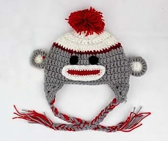 Christmas Sock Monkey Beanie Hat Grey&Red Baby Boy Girl Newborn Photo Props
