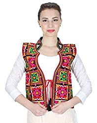 VASTRAA FUSION MULTICOLOURED EMBROIDERED COTTON COLLAR JACKET ON BLACK BASE - X LARGE