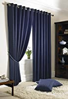 "Jacquard Check Navy Blue 90x90"" 229x229cm Lined Ring Top Eyelet Curtains Drapes from Curtains"