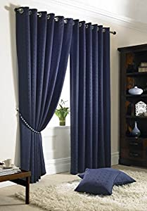 """Jacquard Check Navy Blue 66x54"""" 168x137cm Lined Ring Top Eyelet Curtains Drapes from Curtains"""