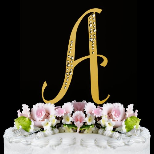 Raebella New York Swarovski Crystal Sparkle Cake Top Topper Letter Gold (Small) front-1033802