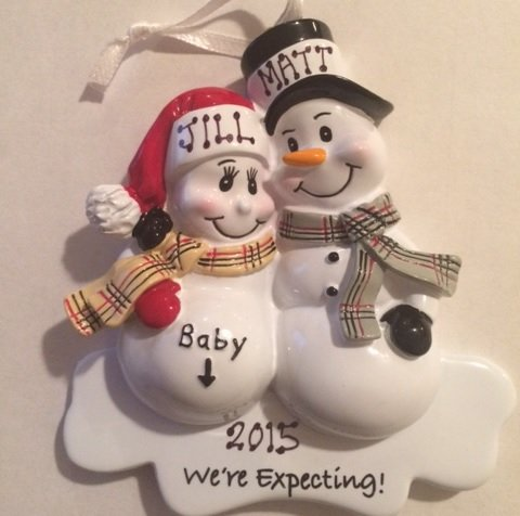 Mom & Dad We're Expecting Snowmen Personalized Christmas Ornament ...