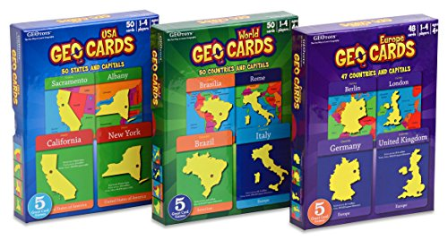 GeoCards-Educational-Card-Games-by-Geotoys-Set-of-3-World-USA-and-Europe