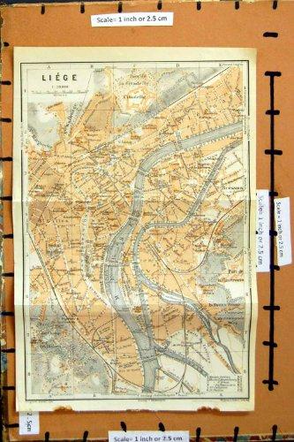 Mosa 1910 di Liegi Belgio della Città di Pianificazione della Via della Mappa