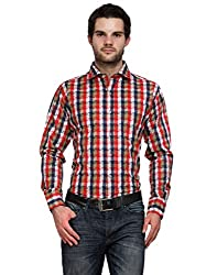 Ausy Red and Blue Cotton Blend Mens's Shirt
