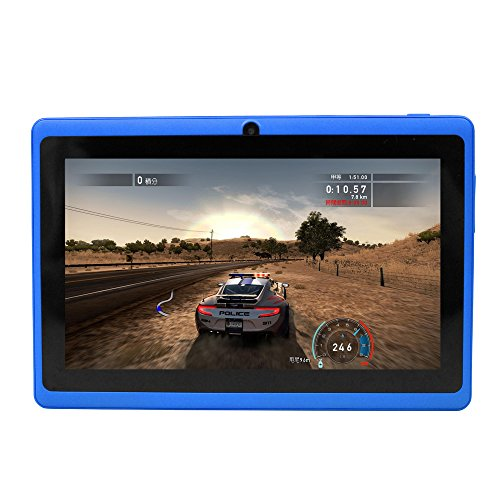 Yuntab 7 inch Tablet PC 8GB Q88 Allwinner A23 Capacitive, Google Android 4.4 ,Tablet PC with Dual core and Dual Camera Google Play Pre-loaded, External 3G ,3D-Game Supported 5 Point Multi Touch Screen Blue