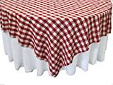 LA Linen Poly Checkered Square Tablecloth, 84 by 84-Inch, Red/White
