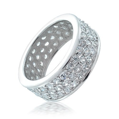 Bling Jewelry .925 Sterling Silver CZ Pave Eternity Ring