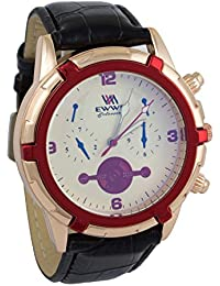 Addic EWWE White Color Stylish Dial With Red Bezel And Black Leather Strap Watch For Men (67)