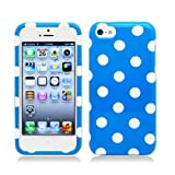 Plastic Light Blue W/ White Polka Dots Hard Cover Snap On Case For Apple Iphone 5c Lite (StopAndAccessorize)