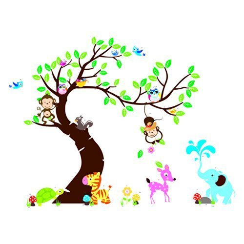 "Hozoyo The owl monkey paradise"" Lovely blooms zoo nursery children's room decorative wall stickers Kids Vinyl Sticker Home Decoration Colorful, 90CM"