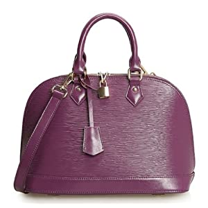 Pinshang Wood Grain Embossed Shoulder Tote Bag Office Lady Favor Shell Handbag (Purple-1)