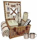 Thyme & Season - Cestino da pic-nic tradizionale, set completo (piatti, bicchieri, posate, saliera e pepiera, tovaglia, thermos e apribottiglie) per 2 persone in dotazione, 380 x 380 x 220 mm