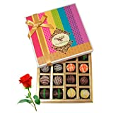 Valentine Chocholik's Belgium Chocolates - Enjoyable Dessert Truffles Treat With Red Rose