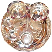 Silver Coated Traditional Pooja Thali Set Of 7 Pcs
