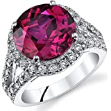 6.75 Carats Created Ruby Engagement Ring Sterling Silver Sizes 5 to 9