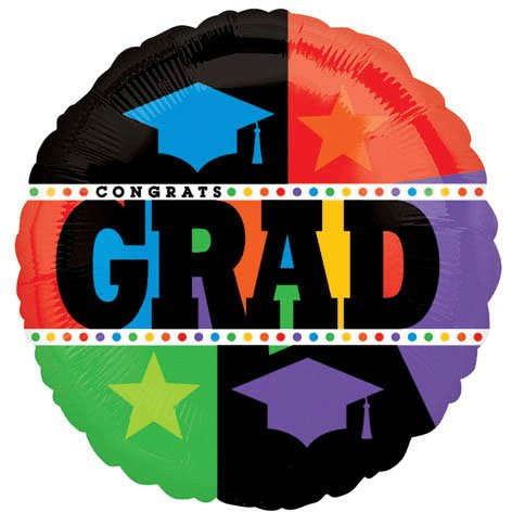 Amscan - Bright Grad Graduation Foil Balloon, uation 18""