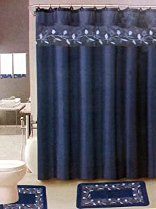 Navy blue leaf 17 piece bathroom set 2 rugs for Navy bathroom accessory sets