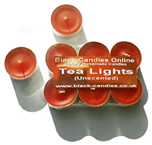 6 x Orange Tea Lights - Unscented - Up to 6.5 Hour Burn Time Each