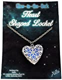 Silver Glow in the Dark Heart Shaped Locket-Style Pendant, UV-Rechargeable Necklace with Star Pattern – Glows BLUE!