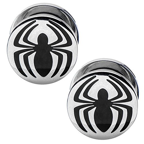 Officially Licensed Marvel Comics Stainless Steel Spiderman Logo Screw Fit Plug Set 2 Gauge