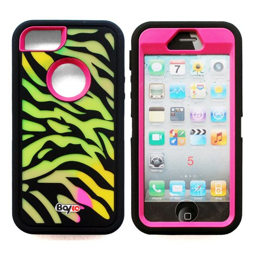 Bayke Brand / Apple iPhone 5 & iPhone 5S 3-Piece Fashion Dual Layer Hybrid Premium Armorbox Armor Defender Case High Impact Dual Layer Hybrid Full-body Protective Case with Built-in Screen Protector (Zebra Combo Print / Hot Pink)