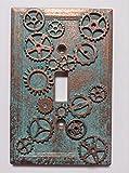 Gears (Steampunk) Stone/Copper/Patina Light Switch Cover (Custom) (Copper/Patina)