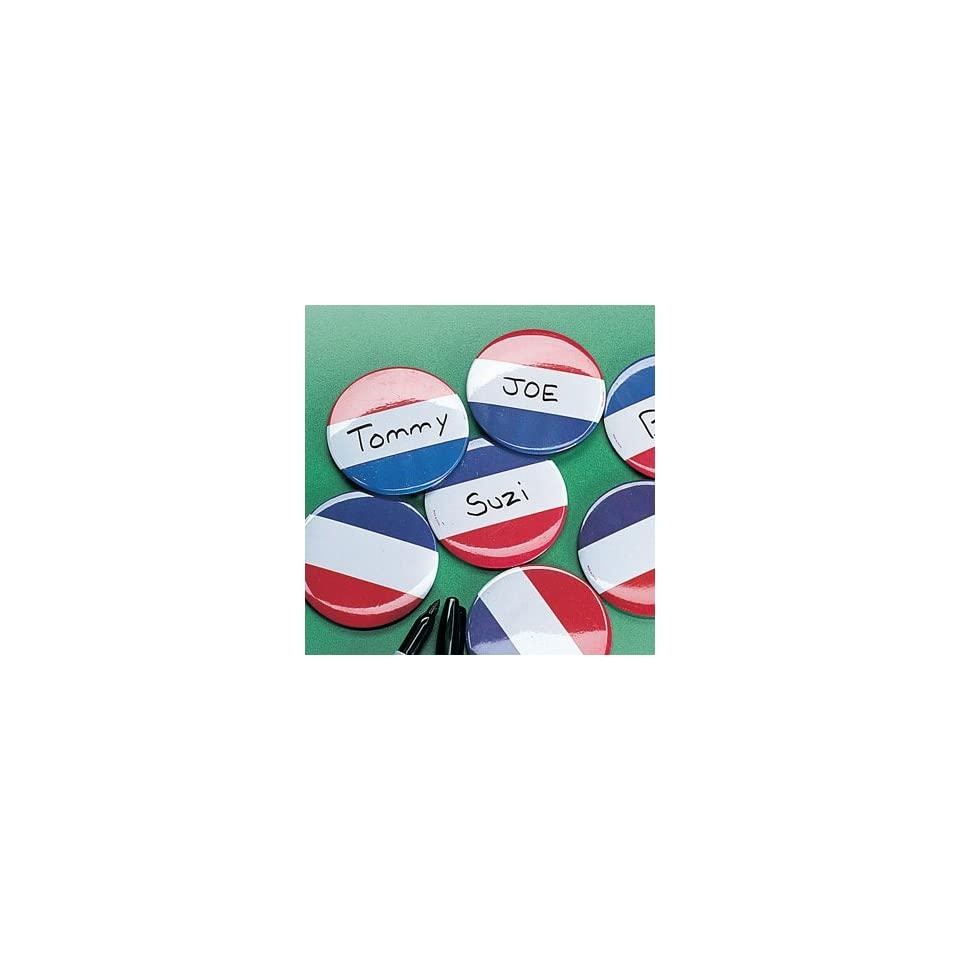 Red White & Blue Name Buttons Novelty Jewelry & Pins