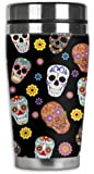 Mugzie® brand 16-Ounce Travel Mug with Insulated Wetsuit Cover - Sugar Skull Toss
