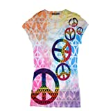 Sublimation FALLING PEACE SYMBOLS Tie Dye Fitted Juniors Girly Retro Groovy Vintage Tee Shirt T-Shirt