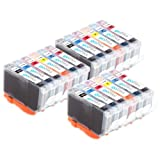 3 Compatible Sets of 6 Canon CLI-8 Printer Ink Cartridges (18 Inks) - Black / Cyan / Magenta / Yellow / Photo Cyan / Photo Magenta for Canon Pixma iP6600D, iP6700D, MP950, MP960, MP970, Pro 9000, Pro 9000 Mark II