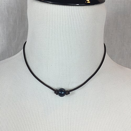 High Quality Freshwater Black Pearl Necklace on Brown Leather Cord