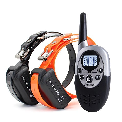 E-TECHING 1100 yard Remote 2 Dog Electronic Training Collar Waterproof and Rechargeable E-collar with Beep / Vibration / Shock Electric Collar (Dog Training Collars For 2 Dogs compare prices)