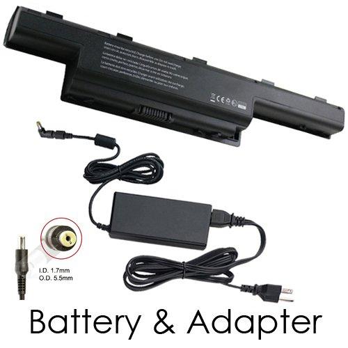 Gateway NV53A82U Laptop Battery and 65 Watt Adapter - Premium Powerwarehouse 9 Cell Battery and 65 Watt Adapter Combo